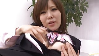 Office Nanako Mori wearing a ripped pantyhose fucks hard.